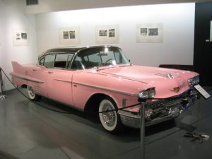 Image of old pink sales car for cosmetic reps (aka Mary Kay Ladies )