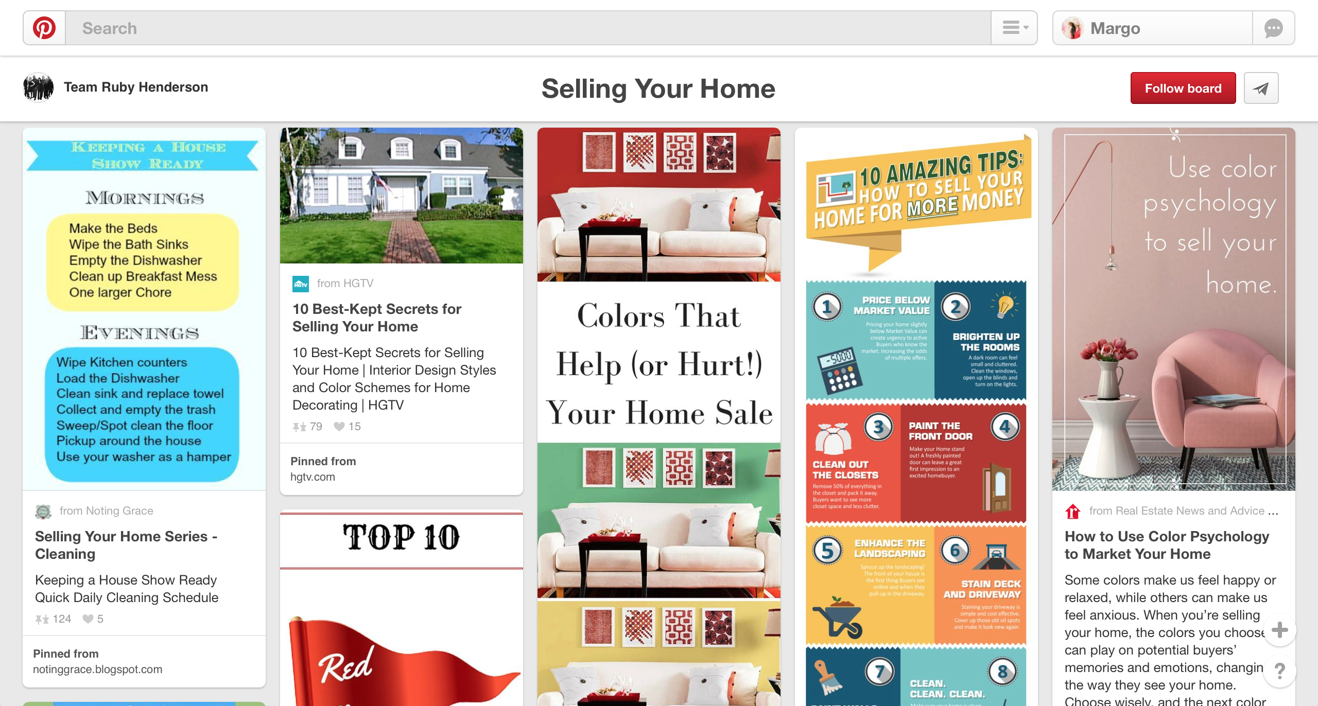 """another one of our real estate marketing tips for pinterest is to have a """"selling your home"""" board."""