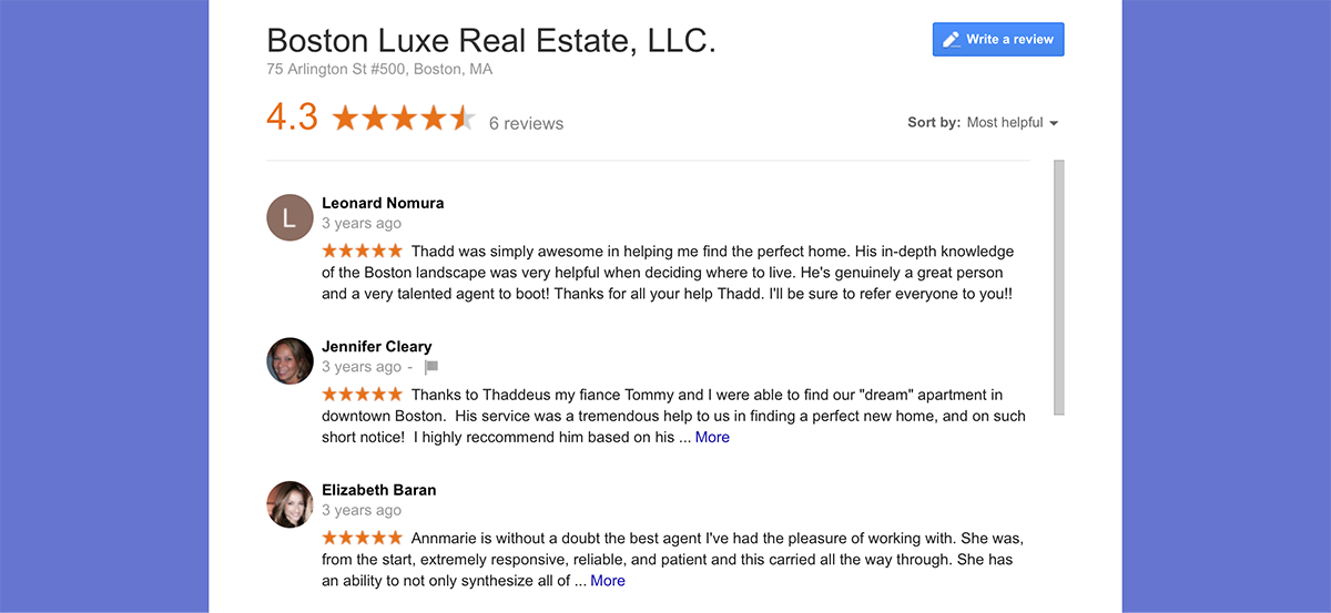 another one of our real estate marketing ideas is to cultivate good reviews!